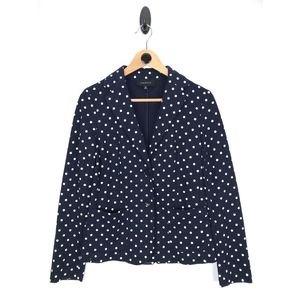 Talbots Navy/White Polka Dot Knit Blazer